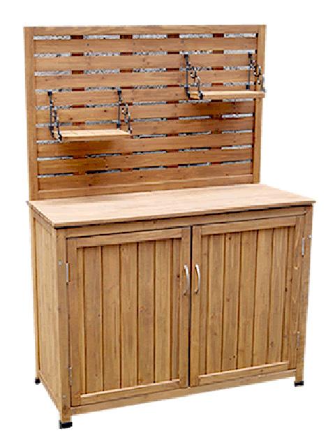 木製ガーデン家具 パネル付き収納庫 100タイプ 天然木材物置収納 ガーデニンググッズ ガーデンファニチャー 代引き不可