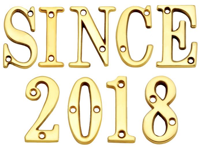 表札 真鍮切文字51シリーズ SINCE2018セット商品 シンプル表札 店舗 看板 外構工事 新築祝いに
