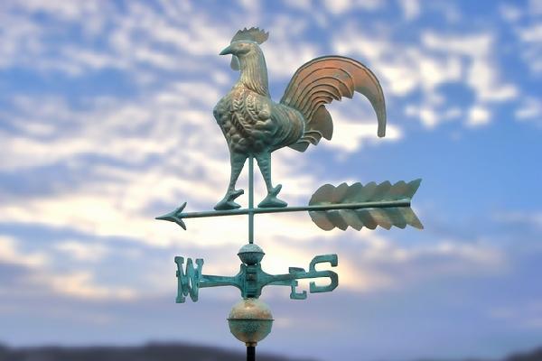風見鶏【A-301Vニワトリ・緑青色】英国風スタイルに。 屋根の上