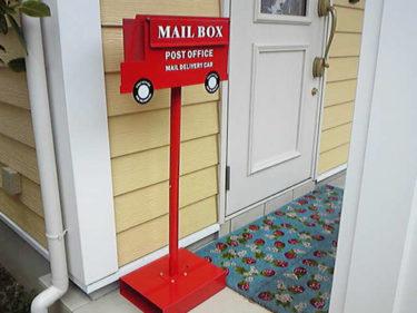 ポスト 郵便受け スタンド おしゃれ 郵便ポスト 鍵付き POST OFFICE レッド 赤 ブラウン 茶 工事不要