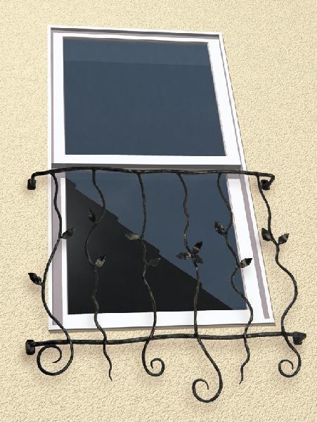 窓格子 面格子 ロートアイアン面格子(幅770mm) オリジナル アイアン壁飾り 窓手すり エクステリア 防犯