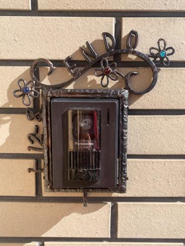 インターホンカバー 表札 ハンドメイド エストアオリジナル インターホンカバー 装飾 エクステリア 手作り ガラス 簡単取り付け