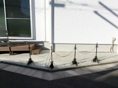 駐車場 ポール おしゃれ フェンス アイアン チェーンスタンド 本体4本+鎖3本+エストアオリジナル重り用袋4枚付き セット
